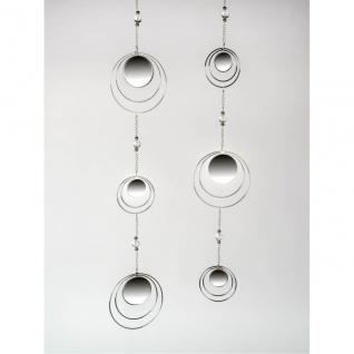 2er SET Deko Hänger, Girlanden Spiegel Kreise L. 84cm Metall + Glas Formano