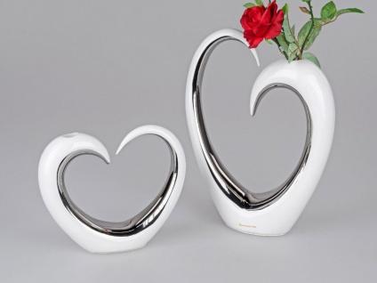 2er Set Deko Vasen Herz H. 19cm + 32cm weiß silber glasierte Keramik Formano F21