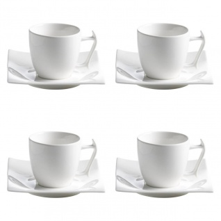 4er Set Tasse mit Untertasse MOTION 200ml weiß Porzellan Maxwell & Williams