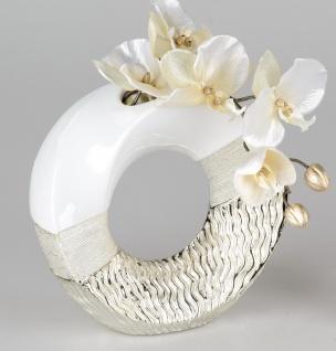 Deko Vase GOLDWAVES rund H. 23cm weiß champagner gold Keramik Formano W19