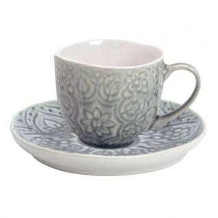 Tasse mit Untertasse PREGO graublau H. 7, 5cm Keramik A. U Maison WA