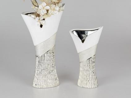 weiß 41 cm Blumenvase Dekovase glänzend Keramik Porzellan Vase Kaktus