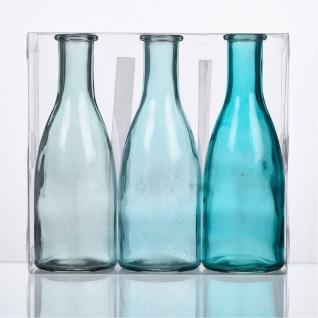 12x 3er Pack Flaschenvasen BOTTLE H. 18, 5cm D. 6, 5cm blau türkis Sandra Rich