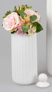 Deko Vase RELIEF RILLEN mit Deckel H. 35cm weiß creme Keramik Formano WA