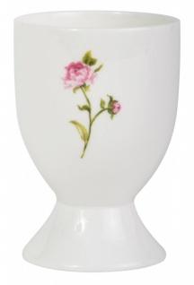 Eierbecher WHITE ROSE mit Rosenmotiv Keramik Ib Laursen
