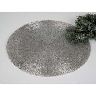 8er SET Platzsets, Untersetzer, Tischsets PERLEN silber rund D. 35cm Formano