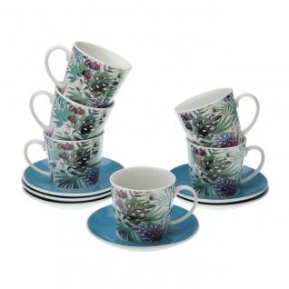 6er Set Tassen mit Untertassen TROPICAL Weiß Blau Porzellan Versa Home