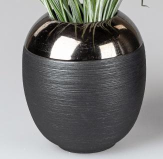 Deko Vase KLASSIK rund H. 17cm matt schwarz gold Keramik Formano W20