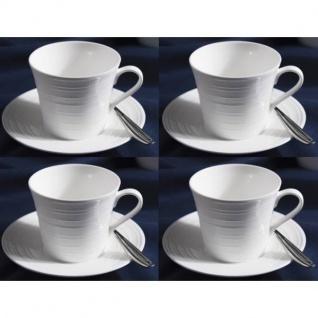 4er SET Tassen mit Untertasse MIKASA CIARA 300ml weiß Porzellan Creative Tops