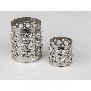 2er Set Teelichthalter RHINESTONES rund H. 6cm + 10cm mit Strass silber Formano
