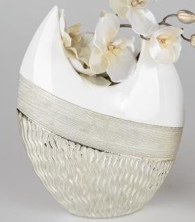 Deko Vase GOLDWAVES H. 30cm weiß champagner gold Keramik Formano W19