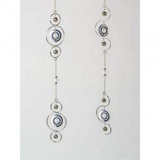 2er SET Deko Hänger Kreise L. 124cm silber aus Metall + Glas Formano