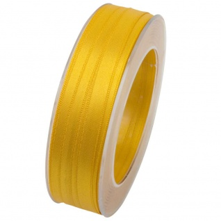 Doppelsatin Stoffband Schleifenband 10mm (1m=0, 20EUR) gelb 25m Rolle Goldina
