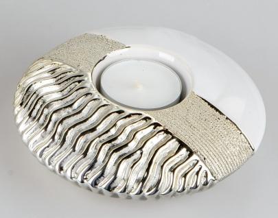 Teelichthalter GOLDWAVES flach D. cm weiß champagner gold Keramik Formano W19