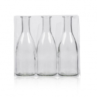 12x 3er Pack Flaschenvasen BOTTLE H. 18, 5cm D. 6, 5cm transparent Sandra Rich - Vorschau