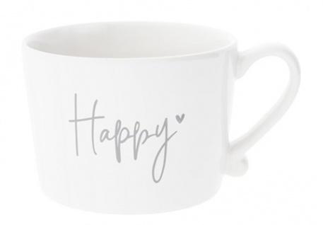 Becher, Tasse HAPPY HEART weiß grau 300ml Keramik Bastion Collections