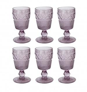6er Set Kelchgläser Katie Alice VINTAGE INDIGO für 250ml lila Glas KitchenCraft