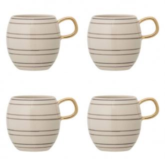 4x Tasse, Becher AVA creme gold gestreift D. 8, 5cm 320ml Keramik Bloomingville