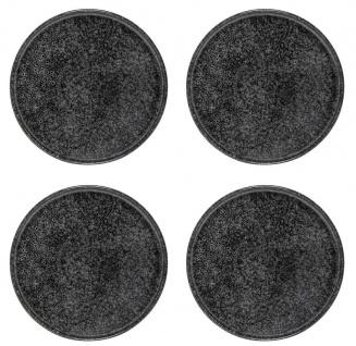 4x Speiseteller, Essteller NOIR BLACK schwarz grau D. 24cm Keramik Bloomingville