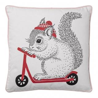 Kissen mit Eichhörnchen weiß rosa rot 50x50cm Baumwolle Bloomingville