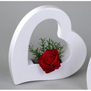 Dekoobjekt Deko Vase Pflanzgefäß HERZ H. 25cm weiß Keramik Formano