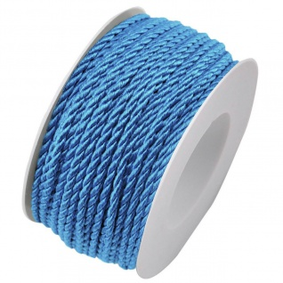 Kordelband, Atlaskordel, Seil gedreht 3mm blau 25m Rolle (1m=0, 20EUR) Goldina