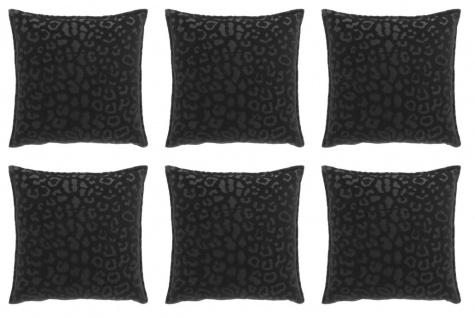 6er Set Kissen mit Füllung NALA LEO Muster 45x45cm black schwarz Unique Living
