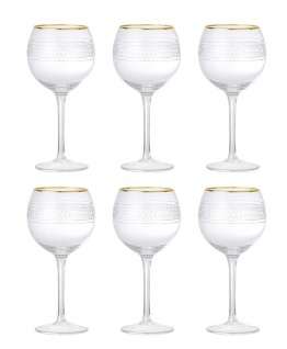 6x Weinglas ROYAL H. 20, 5cm D. 10cm mit Echtgoldauflage Glas Bloomingville WA