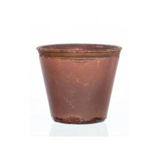 Teelichthalter Übertopf VINTAGE terracotta Glas H 8cm Ø 9cm Sandra Rich WA