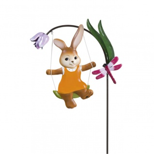 Oster Gartenstecker Hase auf Schaukel H. 120cm aus Metall Goebel Frühjahr