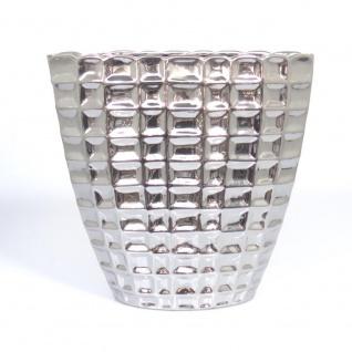 Deko Vase OPUS silber Keramik H. 31cm B. 31cm Netzmuster Casablanca WA