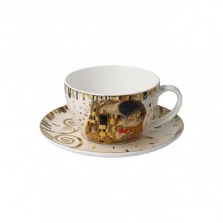 Gustav Klimt Tasse mit Untertasse Der Kuss 250ml weiß gold Goebel Porzellan
