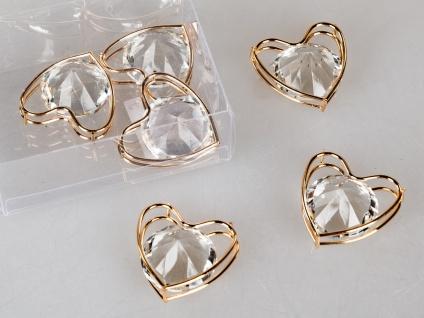 Streudeko Herzen D. 4cm gold mit Kristallglas 6 Stück in Klarsicht BOX Formano