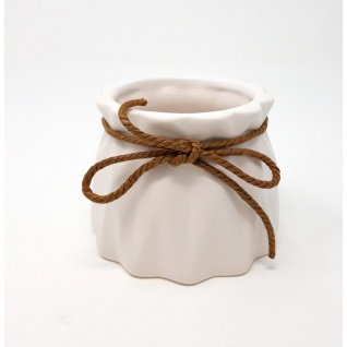 Übertopf, Deko Vase CRINKLE small H. 7 cm D. 8, 5cm weiß rund Keramik Sandra Rich