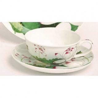 Tasse mit Untertasse LOTUS weiß grün 180ml Bone China Porzellan TeaLogic
