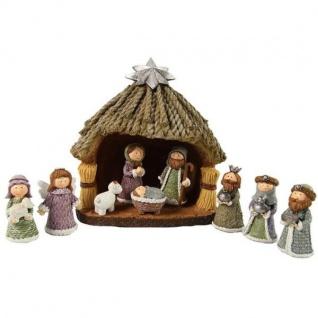 Dekofiguren Krippe, Weihnachtskrippe mit 9 Figuren Braun Kunstharz Decostar WA