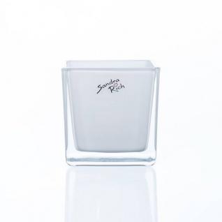 6er SET Teelichtgläser Windlichter WHITE CUBE H. 8cm 8x8cm Glas weiß Sandra Rich