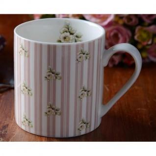 Becher, Tasse FLOWER rosa weiß Porzellan H 9cm 330ml Katie Alice Creative Tops