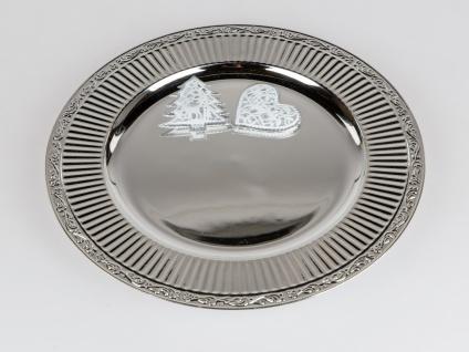 Platzteller rund D. 33cm mit Rillen Rand silber Kunststoff Formano WA