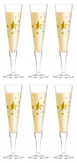 6er Set Ritzenhoff Champus Champagnerglas STERNE by Ellen Wittefeld 2016