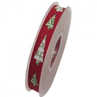 Schleifenband mit Drahtkante TANNE 15mm rot grün (1m=0, 35EUR) 20m Rolle Goldina