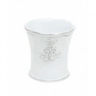 Zahnputzbecher CORONA weiß H. 9, 5cm D 8, 5cm Keramik Virginia Casa