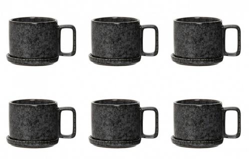 6x Tasse mit Untertasse NOIR BLACK schwarz grau D. 10cm Keramik Bloomingville