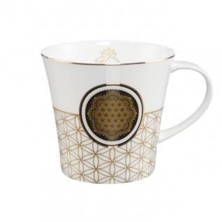 Lotus Becher Tasse Blume des Lebens weiß mit Echtgoldauflage 350ml Goebel