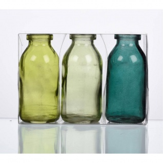 24x 3er Pack Flaschenvasen BOTTLE H. 10cm D. 5cm grün Glas Sandra Rich