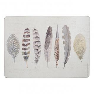 4er Set Tischsets, Platzsets Feathers Federn Kork 40x29cm Creative Tops