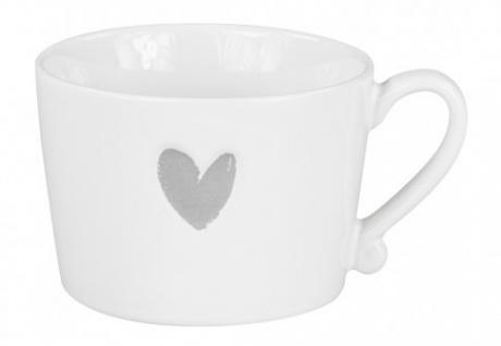 Becher, Tasse HEART Herz 300ml weiß grau Keramik Bastion Collections
