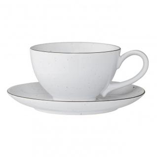 Tasse mit Untertasse Emily weiß D. 11, 5cm H. 7cm 350ml Keramik Bloomingville WA
