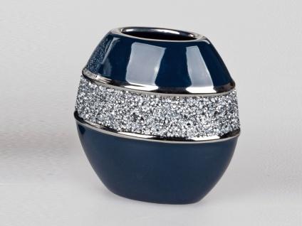 Deko Vase NACHTBLAU STRASS H. 24cm blau silber Keramik Formano