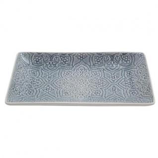 Servierplatte, Teller PREGO BOTANIC DUSTY grau rechteckig 30, 5x17, 5cm A.U Maison